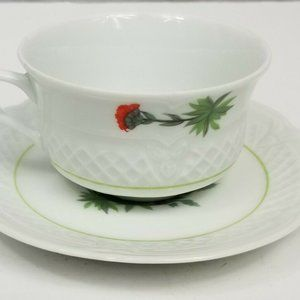 Floral Berry Haute Porcelain France Cup and Saucer